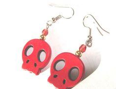 SALE Red Skull Beaded EArrings Pierced by SiriusFun on Etsy, $8.00