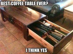 Gun safe coffee table