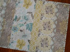 Modern Quilted Table Runner in Aqua Gray and Yellow by susiquilts