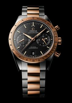 There are also stainless steel Speedmaster '57 models with a range of dial choices including black or blue PVD with rhodium-plated indices and silver-colored with gold applied indices.