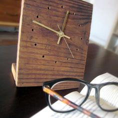 Queens-Made Small Salvaged Wood Tabletop Clock
