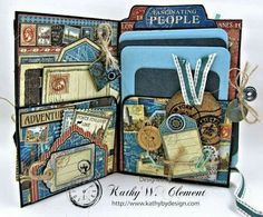 Graphic 45 Designs - Our most repinned Pin of the Week is Kathy's amazing Cityscapes travel album! This has so many great pockets and tags. Love it!