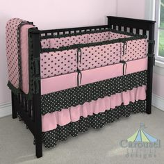 Crib bedding in Pink and Chocolate Polka Dot, Black and White Middy Dot, Solid Coral Pink, Black and Pink Dot. Created using the Nursery Designer® by Carousel Designs where you mix and match from hundreds of fabrics to create your own unique baby bedding. #carouseldesigns