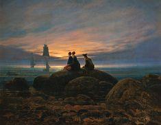 """""""Mondaufgang am Meer"""" (1822) von Caspar David Friedrich (geboren am 5. September 1774 in Greifswald, gestorben am 7. Mai 1840 in Dresden), deutscher Maler, Grafiker und Zeichner. Er gilt heute als der namhafteste Künstler der deutschen Frühromantik."""