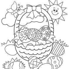 Coloring Easter Pages Free For Kids With Bunny Colouring Basket