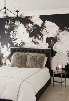 Black Linen Tufted Bed with Gray Shag Pillows | Palmerston Design