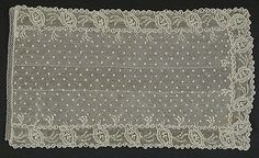 France  Man's Cravat, circa 1795  Lace; Costume/clothing accessory/neckwear, Linen lace, 11 x 6 1/2 in. ( 27.94 x 16.51 cm)  Purchased with funds provided by Mr. and Mrs. John Jewett Garland (M.63.15.3)  Costume and Textiles Department.