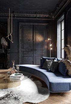 Dark Room on Behance Luxury Homes Interior, Modern Interior Design, Interior Architecture, Luxury Sofa, Luxury Furniture, Furniture Design, Antique Furniture, Furniture Ideas, Casa Pop