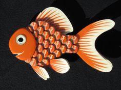 Metal Bottle Cap Fish Wall Art Goldfish by EricsEasel on Etsy, $80.00
