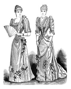 victorian lady clip art, antique fashion illustration, black and white vintage clipart, elegant lady printable, old fashioned woman's dress