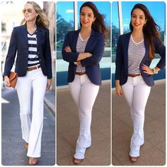 Navy Blazer Outfits, White Jeans Outfit, Look Blazer, Blazer Fashion, Casual Fall Outfits, Stylish Outfits, Cute Outfits, Business Outfits Women, Business Dresses