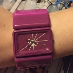 """Pink Nixon Watch Nixon hot pink, dark pink and light pink colors.  Excellent condition, has a few scratches from normal wear.  Band is 1 1/2"""" wide.  Stretches to fit all wrist sizes.  Needs new battery. Nixon Accessories Watches"""