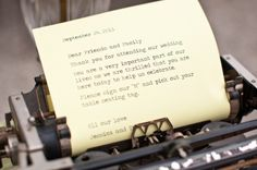 Love the old type writer..thanking guest and using for guest sign in book