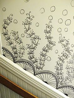 "Tangle the walls above baseboard. This would be very cool in a ""zen"" bathroom / spa."