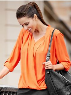 Three Quarter Sleeve Wrap Blouse