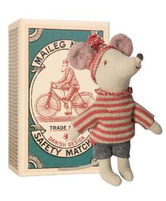 Maileg Little Brother Holiday Mouse in Matchbox