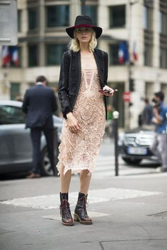 We love this delicate blush dress alone, but styled with a sharp blazer and combat boots? It's off-the-charts amazing.