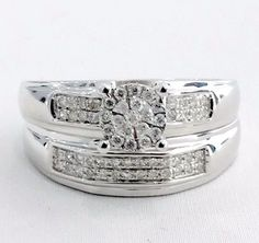 Diamond Engagement Bridal Wedding Duo Ring Set. Love endures. Commemorate an endless passion with this solid 10k white gold engagement wedding rings set with 0.24ct total weight natural and real diamonds.   eBay!