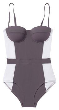 Tory Burch Tory Burch Lipsi Color Block Bedford Gray One Piece Swimsuit S Small NWT $225