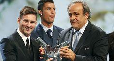 Messi. Mejor jugador de Europa 2014-2015. 49 votos, contra 3 de Luis Suarez y 2 votos para Cristiano Ronaldo  Mónaco: 27 de Agosto de 2015