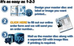 We only use the highest quality media and equipment and print directly onto the disc, no stickers involved. Most customers choose the Photo option but we have other options as well to fit any need or budget Printing Options:      Thermal Transfer –Best for 1 color black text and vector graphics.     Inkjet –Full color ink print usually on matte finished discs.     Photorealistic Thermal –Best photo quality, gloss finish and water resistant.  Duplication Options:      CD Duplication with…