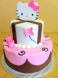 pink brown hello kitty cake