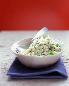 Sauteed in olive oil, scallions add fragrance and flavor to long-grain rice.