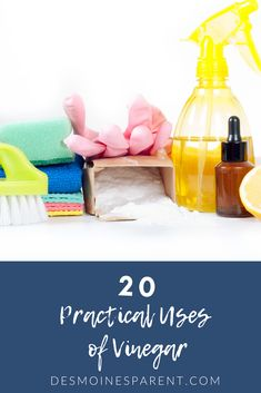 One of the big ones is cleaning up messes around the house.  You can spend lots of money on expensive cleaners to try and get stains out and clean up, or you can spend a few bucks on a big bottle of vinegar and find natural ways to to use it around the house.  Here are 20 practical uses of Vinegar for Parents to help you clean up and more! Bottle Cleaner, Vinegar Uses, Sticker Removal, Big Bottle, Stain Remover Carpet, Kids Board, Carpet Stains, Cleaning Hacks, Real Food Recipes