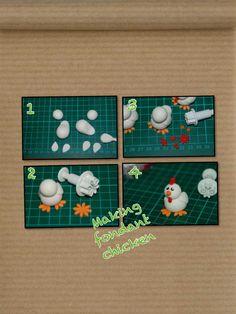 how to make a fondant chicken Fondant Figures Tutorial, Cake Topper Tutorial, Fondant Toppers, Fondant Cakes, Barnyard Cake, Farm Cake, Cake Icing Tips, Farm Animal Cakes, Chicken Cake
