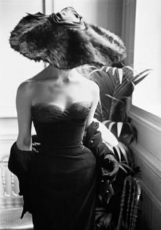 Mark Shaw - Dior Gown with Fur Hat, Paris | From a unique collection of black and white photography at http://www.1stdibs.com/art/photography/black-white-photography/