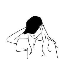 Illustration back - 일러스트레이션 Minimal Drawings, Cool Art Drawings, Easy Drawings, Minimalist Drawing, Minimalist Art, Aesthetic Drawing, Aesthetic Art, Girl Drawing Sketches, Illustration Art
