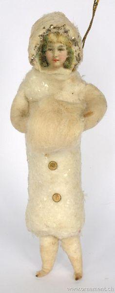 Antique Spun Cotton Ornament - Girl with a Muff.