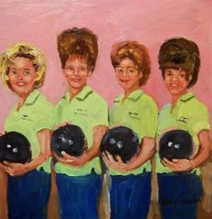 Bouffants and Bowling Balls,1962, painting by artist Kay Crain