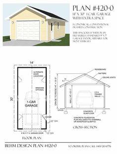 1 Car Garage Plans - 420-0 by Behm Design