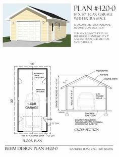 1 Car Garage Plans - 420-0 by Behm Design