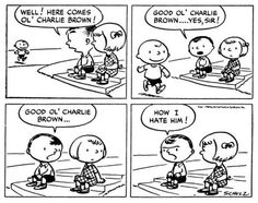 The very first Peanuts comic strip. It featured Shermy, Patty, and Charlie Brown.