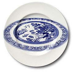 willow pattern plate on a plate by Robert Dawson Aesthetic Sabotage Blue And White China, Blue China, Ceramic Plates, Ceramic Pottery, Image Club, Cerámica Ideas, Willow Pattern, Abstract Lines, China Patterns