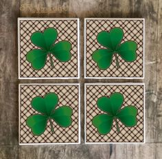 Irish Shamrock Drink Coaster, Handmade Design, Bar Coasters, St. Patrick's Day Gift, St. Paddy's, Green Clover Coaster, Made To Order by SRVintageandDesigns, $5.00 USD