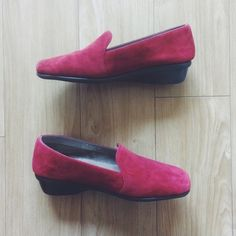 """Aerosoles Red Suede Slip-on Loafers Devote some time out of your day in the Me Time slip-ons in red suede. Smooth lining, cushioned insole. 1.5"""" wedge heel. Only worn once. AEROSOLES Shoes Flats & Loafers"""