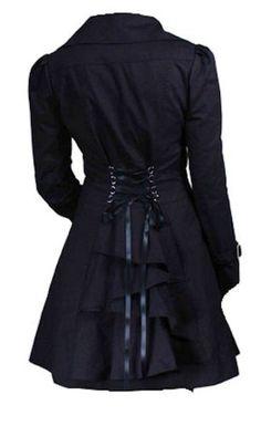 Classic Cotton Victorian Gothic Steam Punk Vampire Corset Riding Jacket Coat…