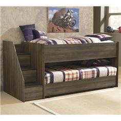 Signature Design by Ashley Juararo Twin Loft Bed w/ Left Steps & Caster Bed - B251-68B+68T+13L+2xB100-11 Available from Busvan for Bargains (could we have two in boy's room? They are low, so they don't block the windows!