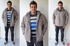 Para os dias muito frios, invista em uma jaqueta como esta do nosso look. Assim você não passa frio e continua com muito estilo!