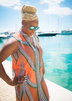 Mara Hoffman dress and GAP mirrored sunglasses