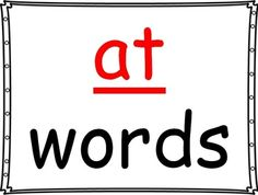 Students practice reading words in the -at word family as you go through the power point presentation. This is a great activity for introducing a new word family or for rhyming.