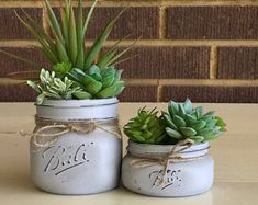 Mason Jar Decor, Mason Jar Succulent Planter, Succulent Planter, Faux Succulents, Artificial Succulents, Office Decor, Rustic Home Decor