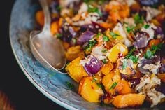 Roasted Butternut Squash and Red Onion with Tahini | FoodFitnessFreshAir