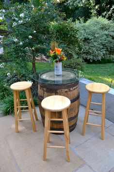 Casual Backyard Biergarten Engagement Party: Whiskey Barrel Bistro Table,  Pub Stools U0026 Flowers