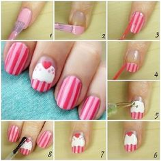Simple Cupcake Nail Art tutorial, anyone can do this! Nail Art Diy, Easy Nail Art, Diy Nails, Cute Nails, Pretty Nails, Nail Art Cupcake, Nail Art Designs, Nails Design, Design Art
