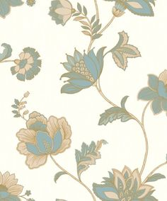 hutch back board Vinyl Wallpaper, Wallpaper Roll, Ivory White, Beige, Jacobean, Teal Blue, Plant Leaves, Deco, Floral