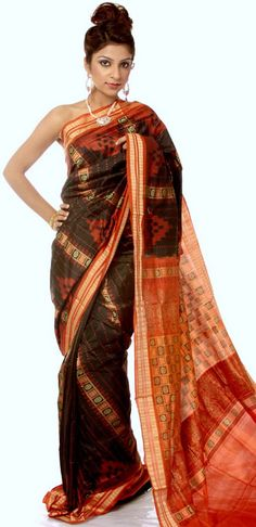 Black and Orange Sambhalpuri Sari with All-Over Ikat Weave from Orissa